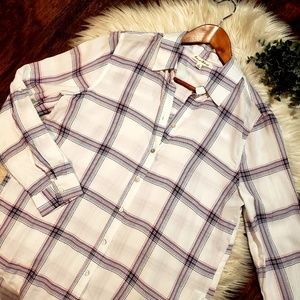 Jane and Delancey High Low Plaid Button Down Shirt